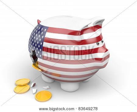 United States economy and finance concept for unemployment and national debt crisis