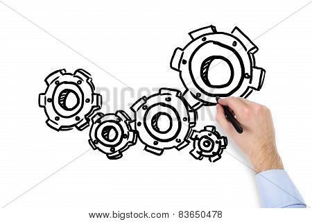 Hand Drawing Cogs