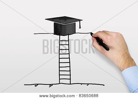 Hand Drawing Bachelor Cap
