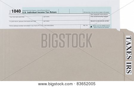 Individual Income Tax Form With Folder