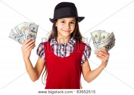 Happy girl with dollars in hands