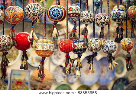 Orinetal Beads Hanged in Grand Bazaar Istanbul Turkey