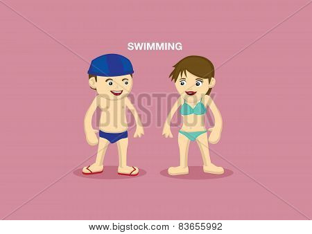 Swimmers Vector Cartoon Illustration