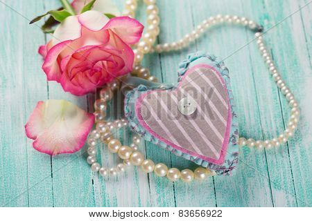 Postcard With Heart And Elegant  Flower