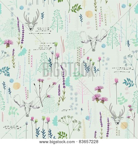 Seamless pattern with trees, shrubs, foliage, animals
