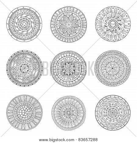 Round ornaments set of doodle mandalas.