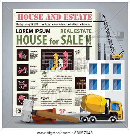 House And Estate Newspaper Lay Out With Construction Process