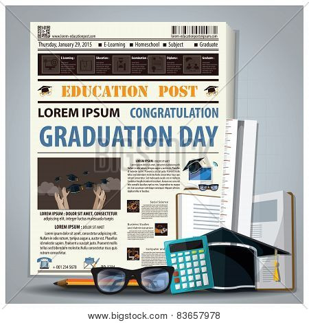 Education And Graduation Newspaper Lay Out With Pencil, Glasses, Stationery