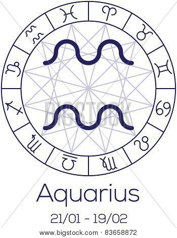 Zodiac Sign - Aquarius. Astrological Symbol In Wheel With Polygonal Background.