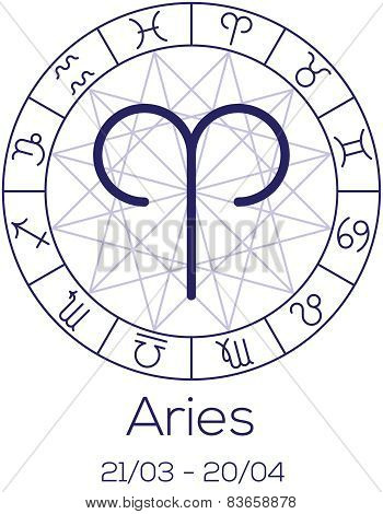 Zodiac Sign - Aries. Astrological Symbol In Wheel With Polygonal Background.
