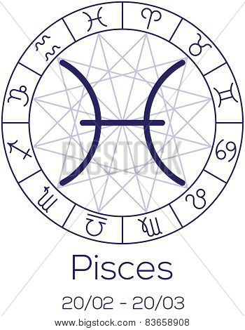 Zodiac Sign - Pisces. Astrological Symbol In Wheel With Polygonal Background.