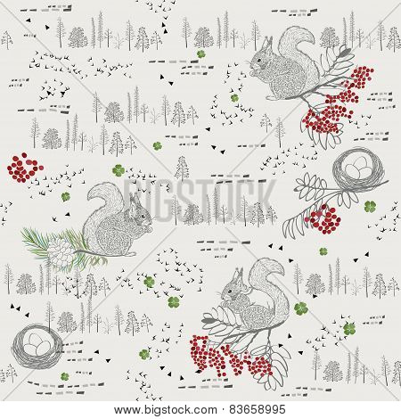 Seamless pattern with squirrel