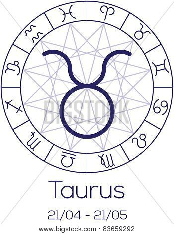 Zodiac Sign - Taurus. Astrological Symbol In Wheel With Polygonal Background.