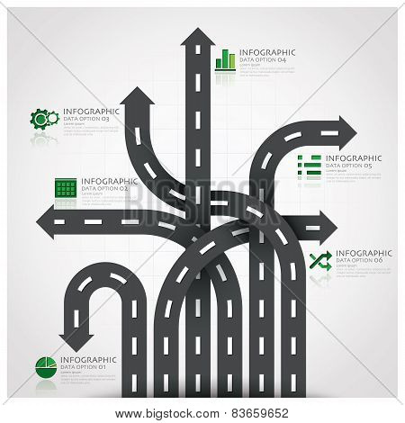 Road And Street Traffic Sign Business Infographic With Weaving Arrow Diagram