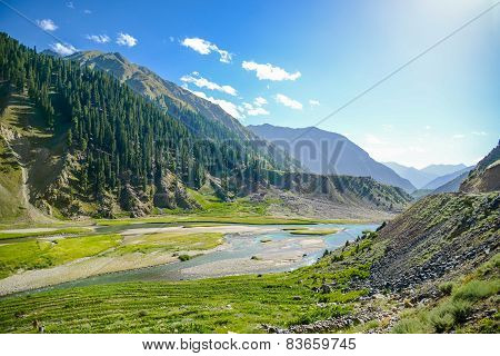 Landscape With Mountains Trees and a River in Front, Pakistan