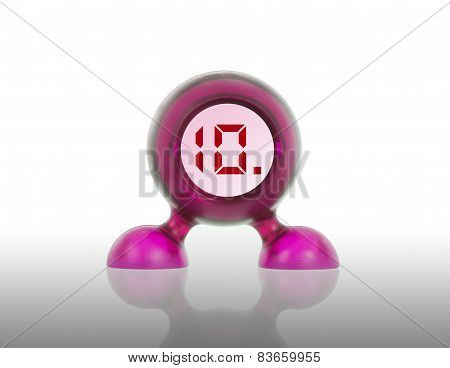 Small Pink Plastic Object With A Digital Display