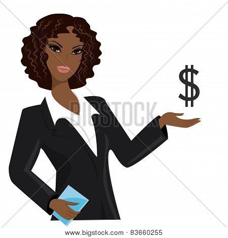 African American Business Woman Pointing To  Business Trends