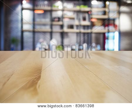 Table Top Counter Bar Restaurant Interior Blurred Background