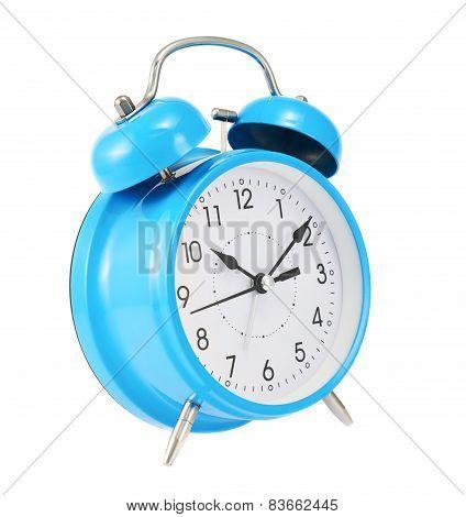 Blue alarm clock isolated