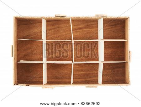 Wooden box with twelve sections