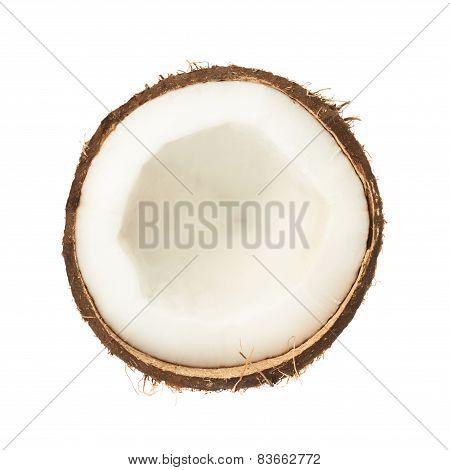 Coconut fruit cut in half