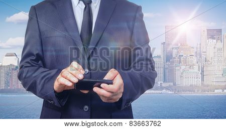 Double Exposure Of Businessman And New York Skyline