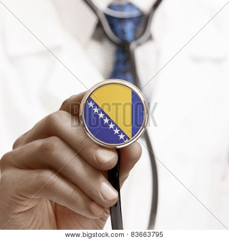 Stethoscope With National Flag Conceptual Series - Bosnia And Herzegovina
