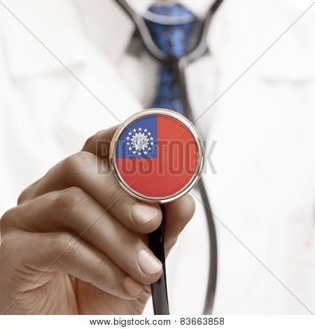 Stethoscope With National Flag Conceptual Series - Myanmar - Burma