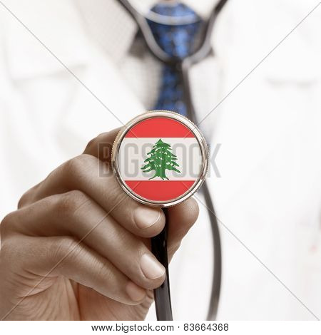 Stethoscope With National Flag Conceptual Series - Lebanon