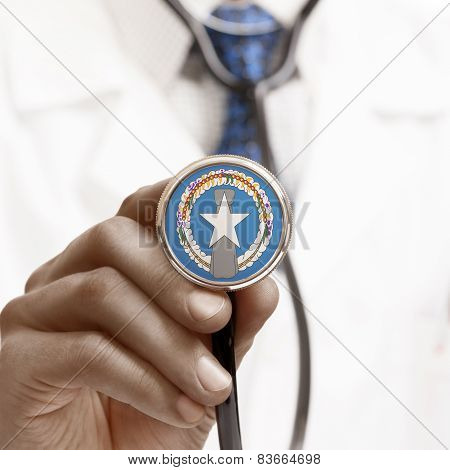 Stethoscope With National Flag Conceptual Series - Northern Mariana Islands