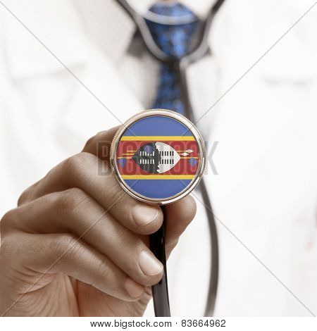Stethoscope With National Flag Conceptual Series - Swaziland