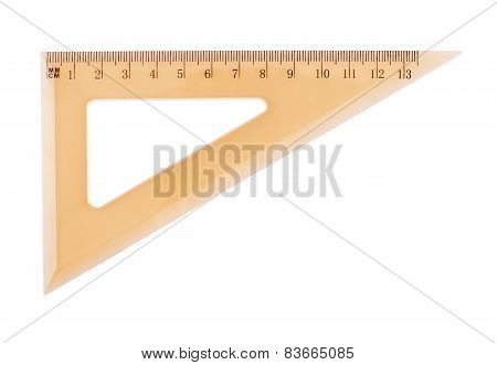 Orange plastic triangle centimeter ruler