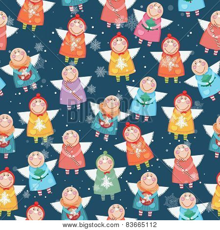 Seamless pattern with christmas angels.