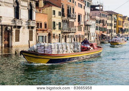 Typical Canal And Street Scene, Venice