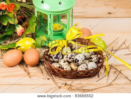 Quail And Chicken Eggs In A Basket And A Candlestick, Spring Flower