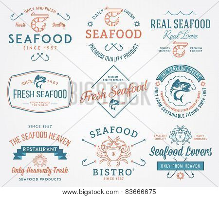 Seafood Labels And Badges Vol. 2 Colored