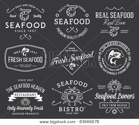 Seafood Labels And Badges Vol. 2 White On Black