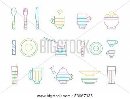 Food and dinnerware set of icons in line vector graphics. Spoon, fork, knife, cup, plate, glass, cez