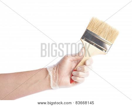 Hand holding a new wide brush