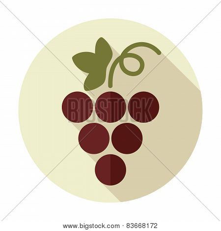 Grapes Flat Icon With Long Shadow