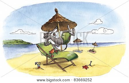 Humorous mouse at the beach