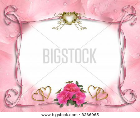Wedding invitation border pink roses