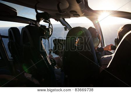 Inside a helicopter