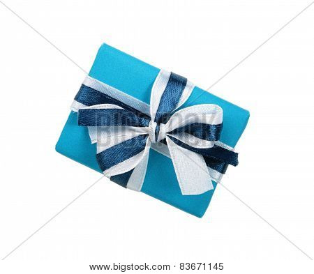 Wrapped blue gift box