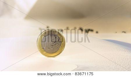 One Euro Coin In A Desert