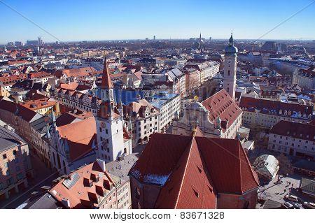 Munich spring day skyline