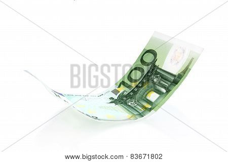 Flying Euro bank note