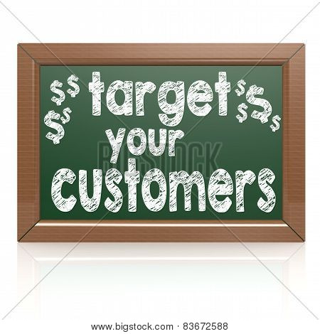 Target Your Customers Words On A Chalkboard