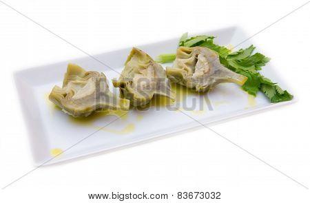 Boiled artichokes