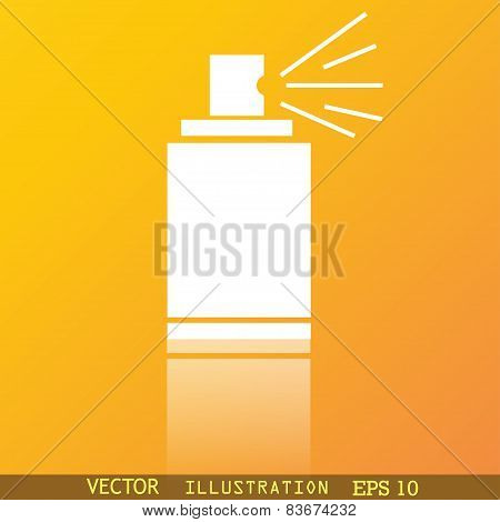 Aerosol Paint Icon Symbol Flat Modern Web Design With Reflection And Space For Your Text. Vector